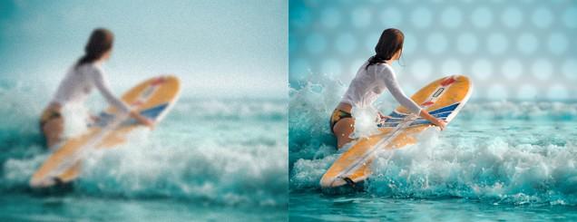 Obr.: Ilustrácovanie porovnania rozmazaného videnia a po aplikácii okuliarov EyeHealth